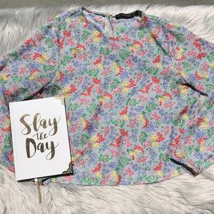 Zara White Button Down with Polka Dots and Flowers